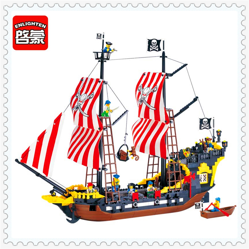 780Pcs Black Pearl Caribbean Pirate Ship Model Building Block Toys ENLIGHTEN 308 Educational Gift For Children Compatible Legoe lovien essential интенсивный кондиционер маска для сухих ломких и окрашенных волос 150 ml
