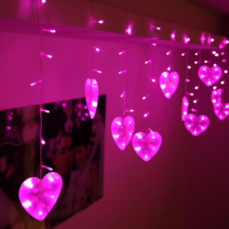 3m 120 ampoules LED chaîne de rideau de coeur guirlande s\'allume l ...
