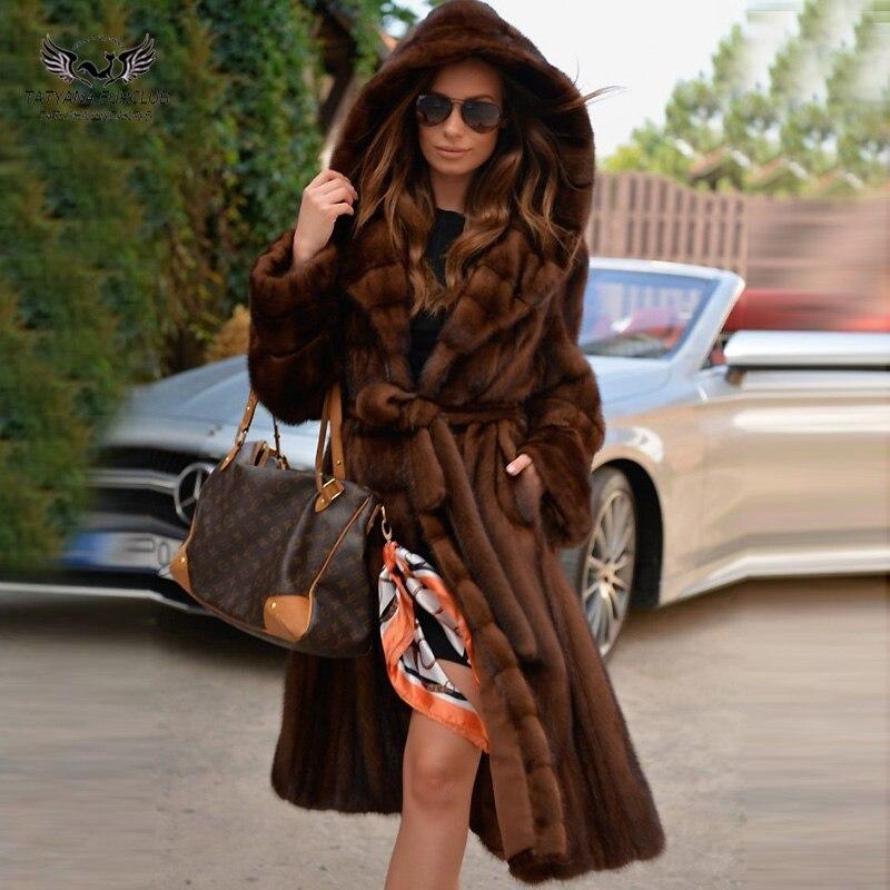 Tatyana furclub manteau de fourrure naturelle épaisse femmes vraie veste de fourrure de vison avec grande capuche x-long manteau en cuir véritable manteaux de fourrure de vison