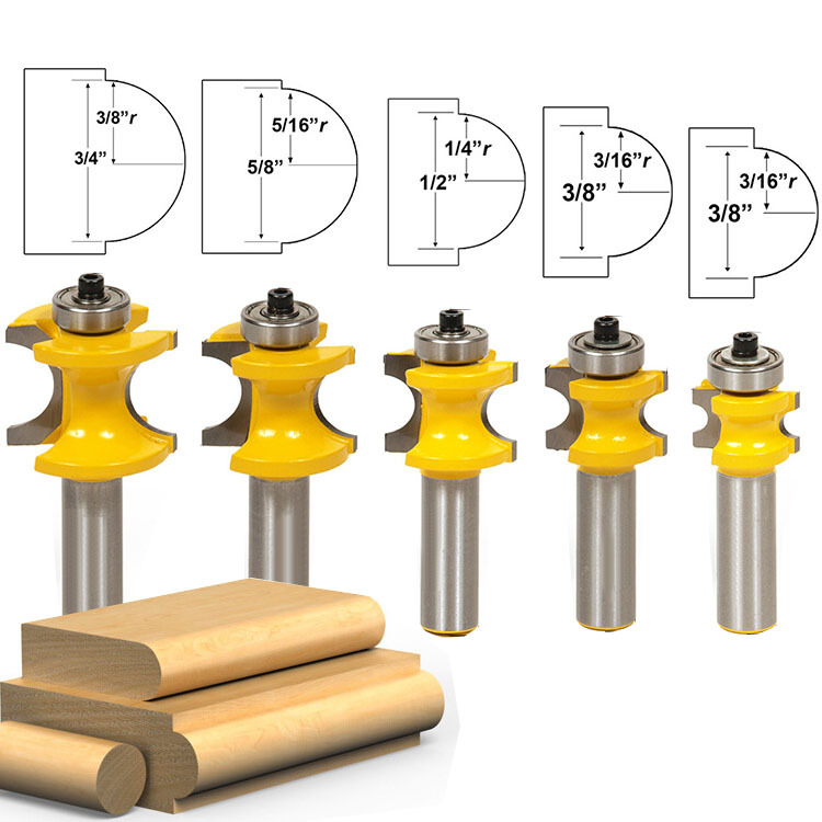 Freeshipping 5pcs Bit Bullnose Router Bit Set with C3 Carbide Tipped 1 2 Inch Shank for