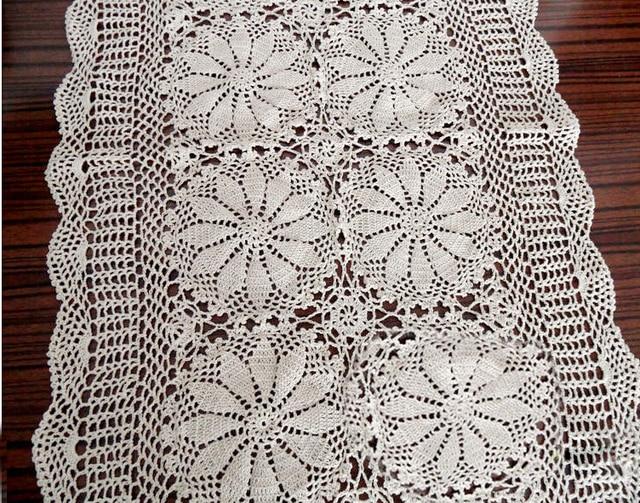 Hermosa ganchillo hecho a mano de algodón Mesa corredor flor ...
