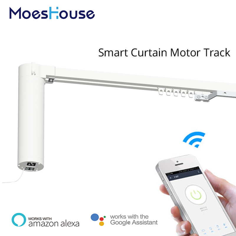 Wifi Smart Automatic Curtain Motor Track System Smart Home Motorized Smart Life APP Remote Control Works Alexa Echo Google Home