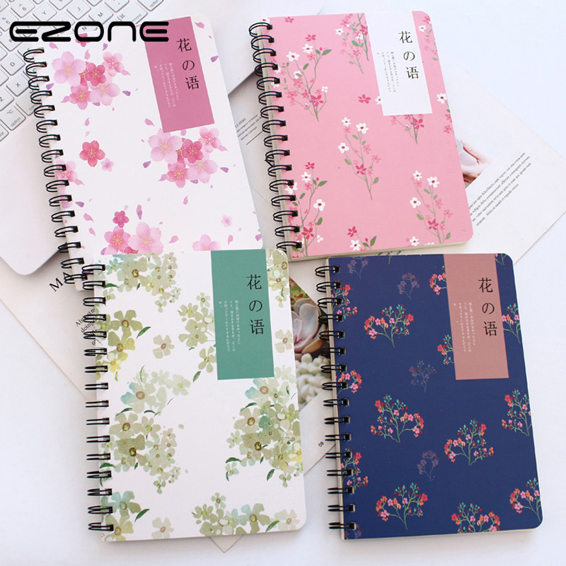 EZONE Sakura Notebook Kawaii Floral Flower Pattern Coli Note Book For Traveler Journey Diary Spial Memo Pad Students Stationery