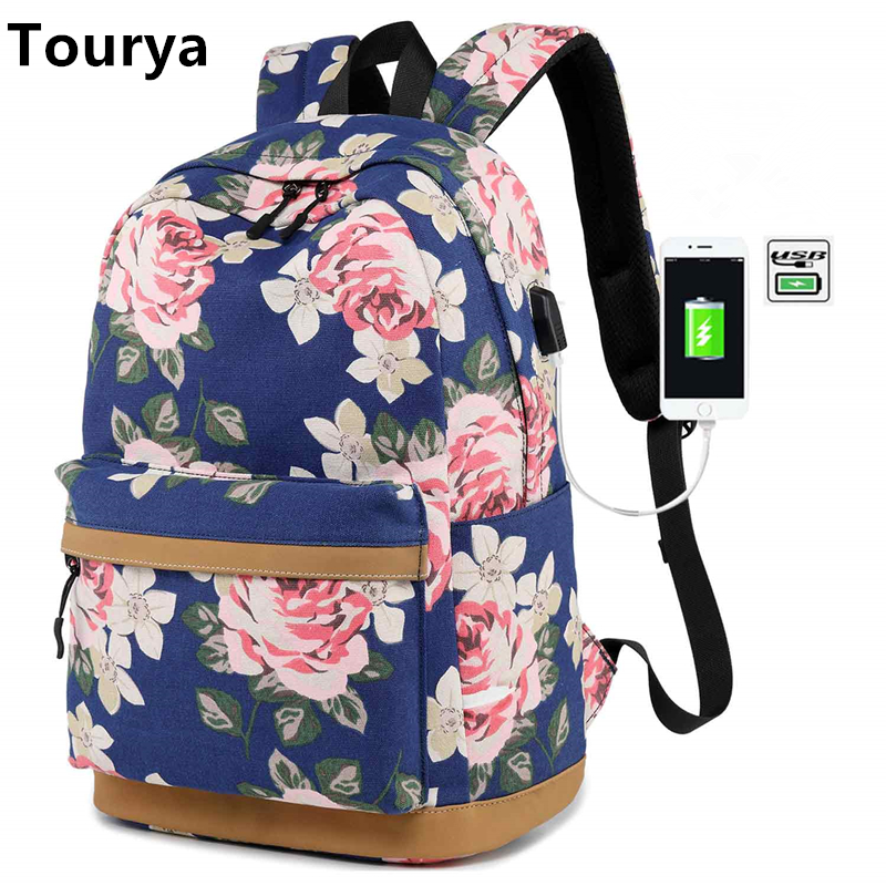 Tourya Canvas Women Backpack Floral Printing USB Charging School Bags For Teenagers Girls Large Capacity Travel Laptop Bagpack