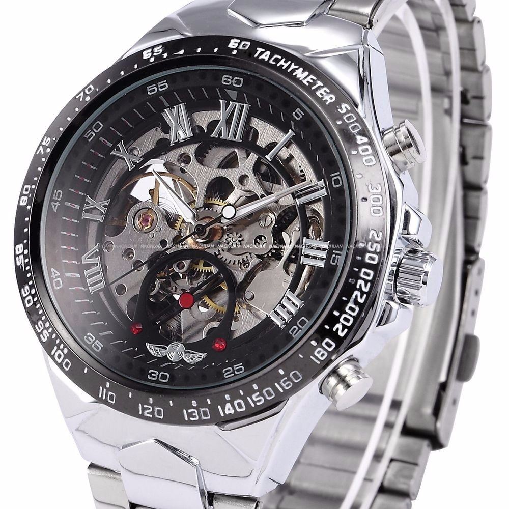 New WINNER Relojes Watches Top Branded Mens Classic Stainless Steel Self Wind Skeleton Mechanical Watch Fashion Cross Wristwatch