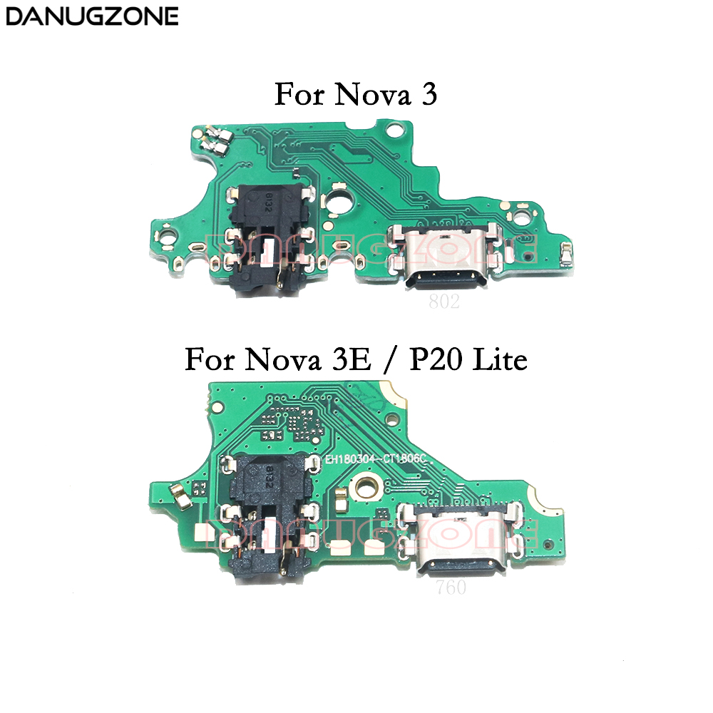 USB Charging Dock Port Socket Plug Connector Charge Board Flex Cable With Headphone Audio Jack For Huawei Nova 3 3E / P20 Lite
