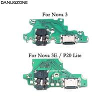 цена на USB Charging Dock Port Socket Plug Connector Charge Board Flex Cable With Headphone Audio Jack For Huawei Nova 3 3E / P20 Lite