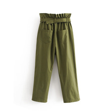 2019 Women Solid Color Pleated Elastic Waist Double Pockets Pants Ladies Elegant Match All trousers