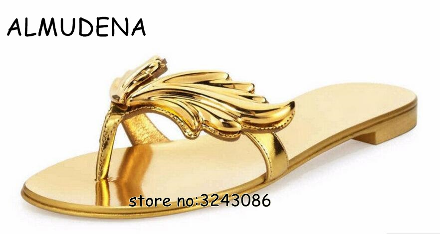 bb82c49ba Detail Feedback Questions about Leaves Flip Flops Womens Sandals Summer  Fashion Silver Gold Angel Wings Lady Flats Sandals Shoes Rome Designed  Slippers ...