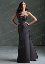 Free Shipping Fancy Mermaid Sweetheart Pleated Floor Length Long Black Bridesmaid Dresses BD068