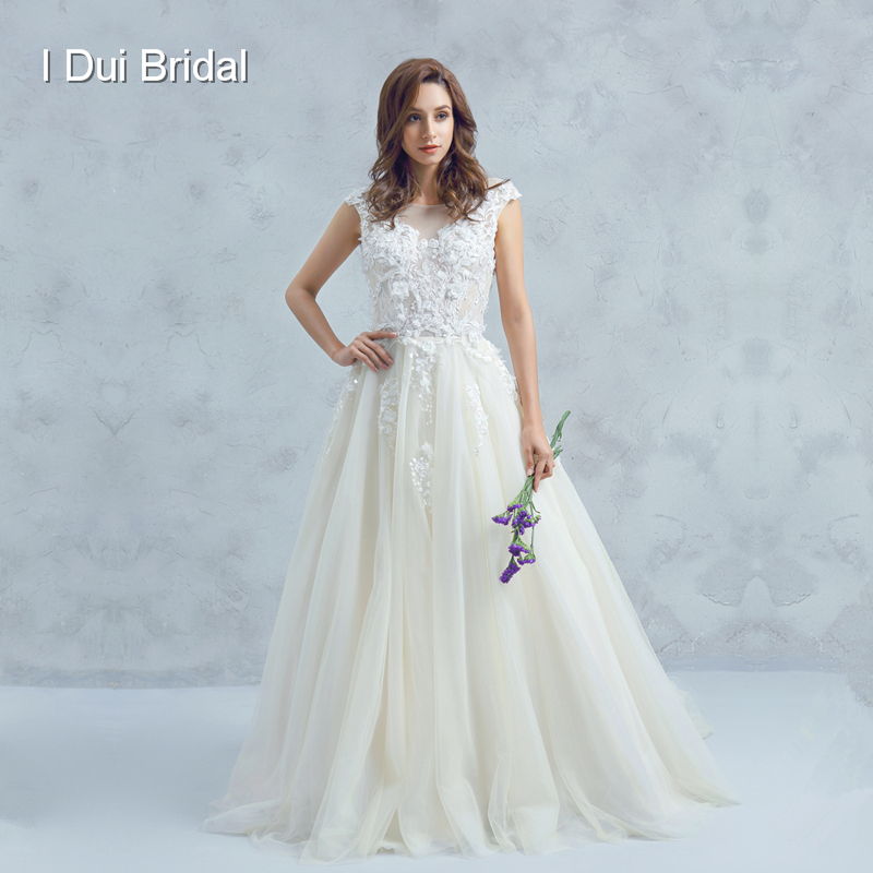 Boat Neck Low Back Wedding Dress With 3D Flower Lace
