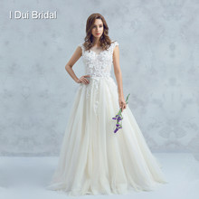 Boat Neck Low Back Wedding Dress with 3D Flower Lace Cathedral Train Bridal Gown High Quality(China)