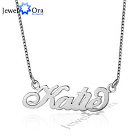 DIY Christmas Gift Name Engrave Pendant Personalized 925 Sterling Silver Name Necklace With Box JewelOra NE101646
