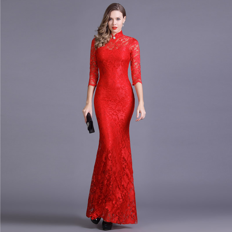 Elastic Lace Qipao Long Chinese Evening Dress Elegant Women Wedding Party Dresses Red Mermaid Cheongsam Sexy