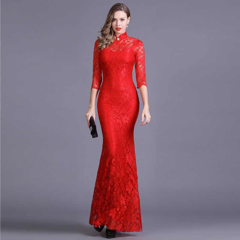 1c691b502 Elastic Lace Qipao Long Chinese Evening Dress Elegant Women Wedding Party  Dresses Red Mermaid Cheongsam Sexy