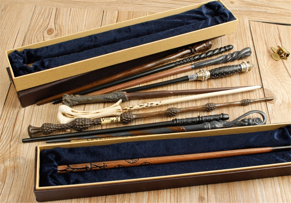 Wholesale Newest 30 Styles 50pcs Wand With Nice Cosplay Box Harry Potter Lord Voldemort Luna Lovegood Albus Dumbledore Wand 5pcs set movie cosplay albus dumbledore the elder magic wand harry potter core toys in box collection with gift box set