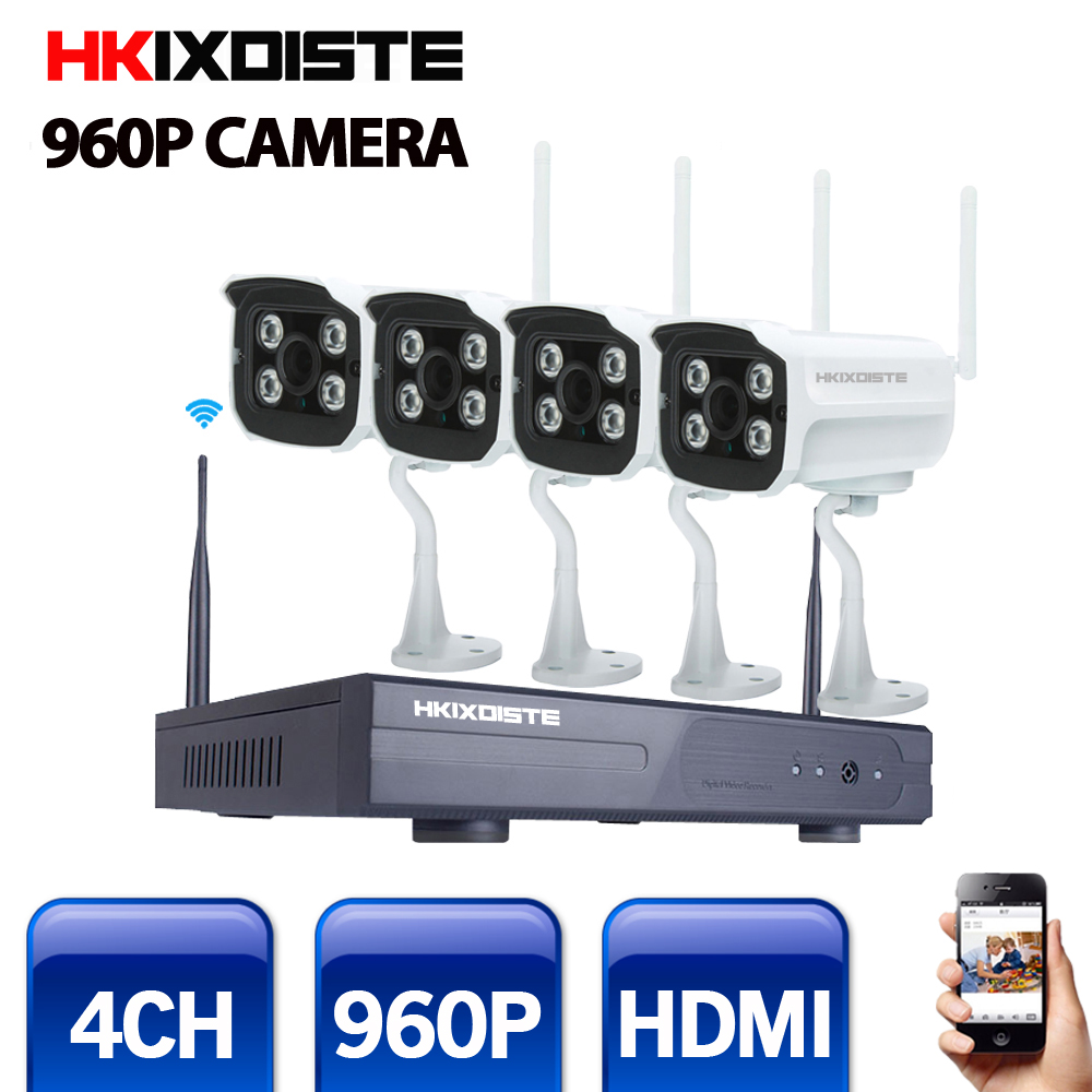 4CH IR HD Home Security Wifi Wireless IP Camera System 960P CCTV SET Outdoor Wifi Cameras Video NVR Surveillance CCTV KIT image