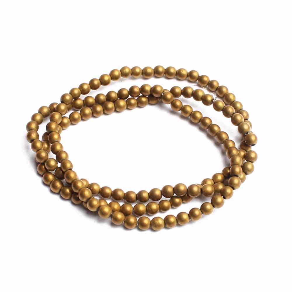 Alam Batu Manik-manik Matte Warna Emas Bijih Besi Bulat Beads untuk Perhiasan Membuat 15 Inci 2/3/4/ 6/8/10 Mm DIY Perhiasan
