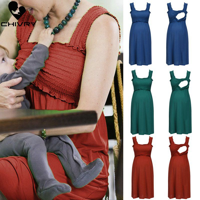 Maternity Dress Breastfeeding Clothes Summer Sleeveless Pregnant Camisole Dress Women Nursing Tops Pregnancy Dresses Vestidos