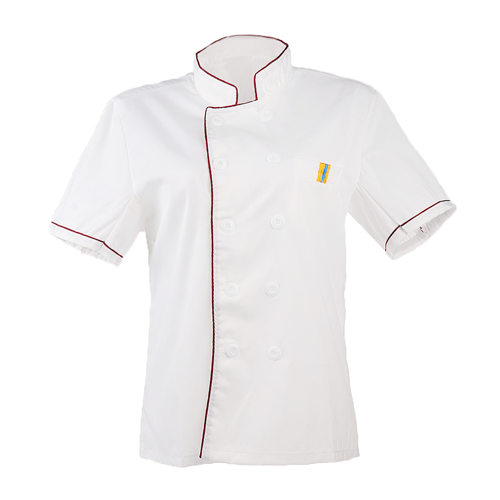 2 Colors Wholesale Unisex Kitchen Chef Uniform Bakery Food Service Short Sleeve Breathable Cook Wear Chef Jacket Coat