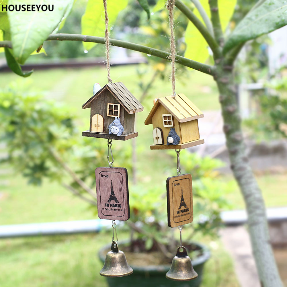 Japanese totoro wind chime wooden house landscape garden for Outdoor hanging ornaments