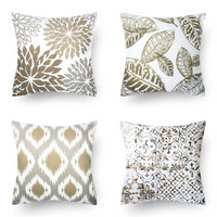 New Living Series Decorative Throw Pillow Case Cushion Cover Black 18 x 18 45cm x 45cm Set of 4
