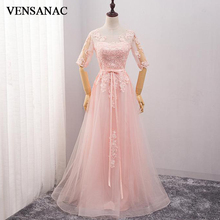 VENSANAC 2018 Lace Appliques O Neck Long A Line Evening Dresses Elegant Half Sleeve Party Bow Sash Tulle Prom Gowns