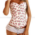Branco Demin Floral Overbust Corset casacos Top Lace up Jean Flowers Bustier sml XL 2XL