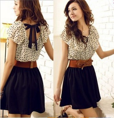 5e90d0fd25c Korean Women Summer New Fashion Chiffon Dress Short-sleeve Dots Polka Waist  Mini Beige+Black Free Shipping