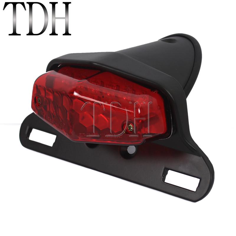 Motorcycle Black Red LED Lucas Style Retro Taillights Brake Stop Light License Plate Lamp For Harley Triumph Cafe Racer Chopper