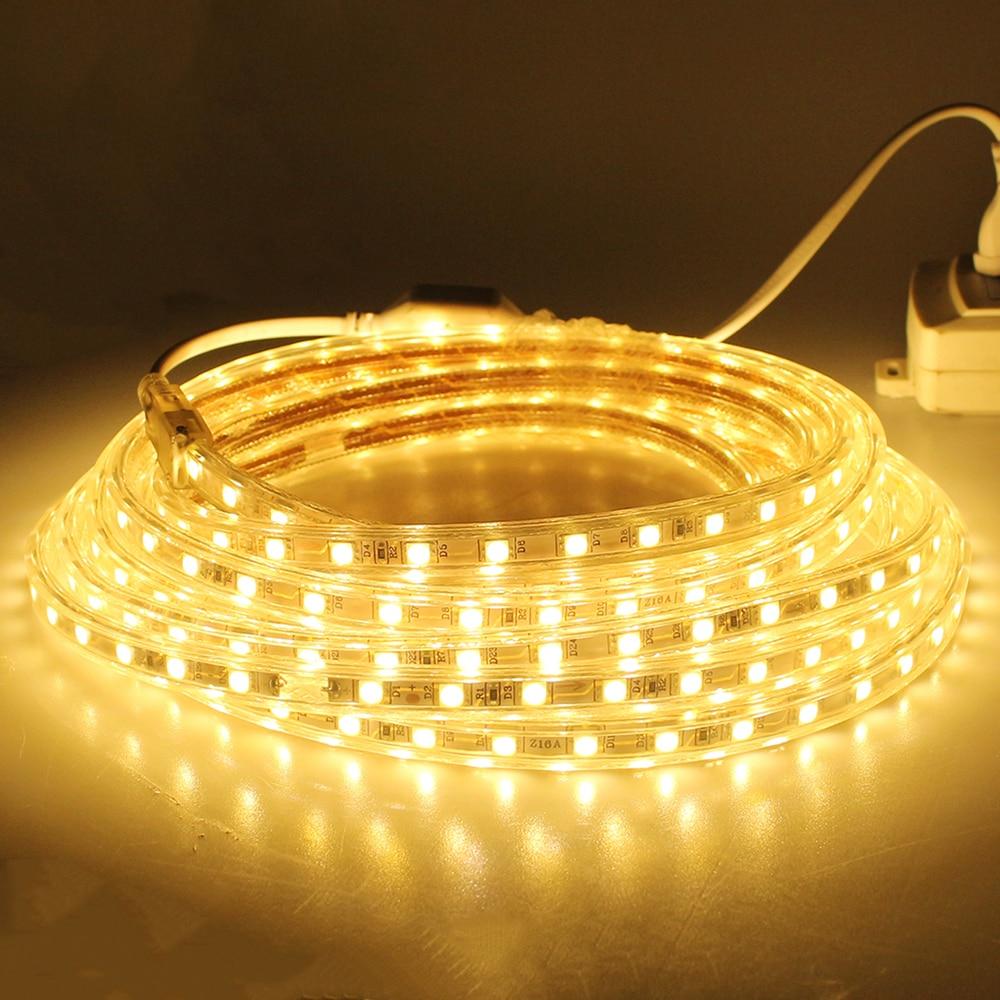 rgb smd led strip light waterproof 220v 5m 10m 15m 20m flexible outdoor indoor decora