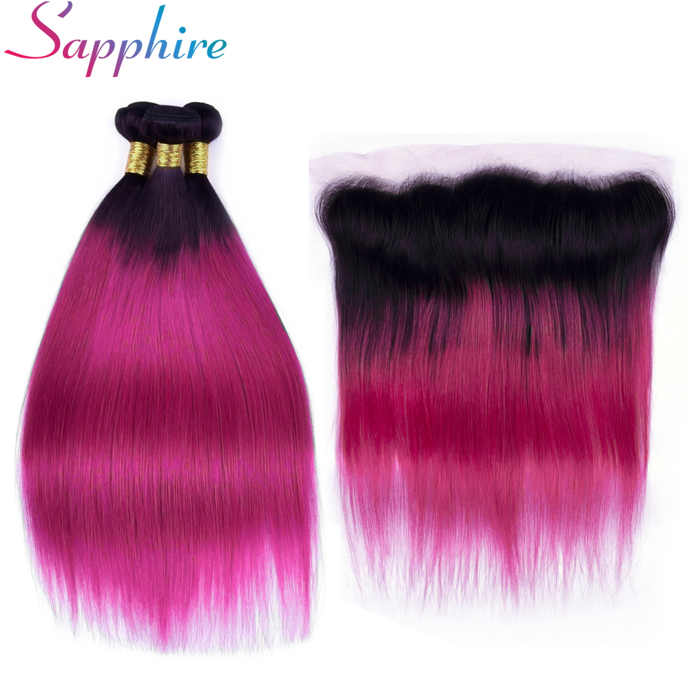 Sapphire Pre-Colored 1B/Burgundy Ombre Brazilian Hair 3 Bundles With Ear to Ear Lace Frontal 100% Human Hair Weave Remy