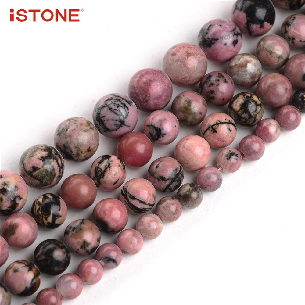 iSTONE 100% Natural Gemstone Round Beads,Strand 16 Inch,Jewelry Making Beads,6/8/10mm,18 colors,Rhodonite,Amazonite,Opal,Etc