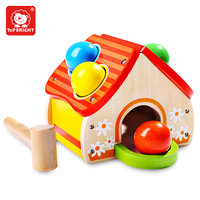Wooden Toy Balls House Toy Small Hammer Knocking Balls Training Baby Limb Ability And Hand Eye Coordination