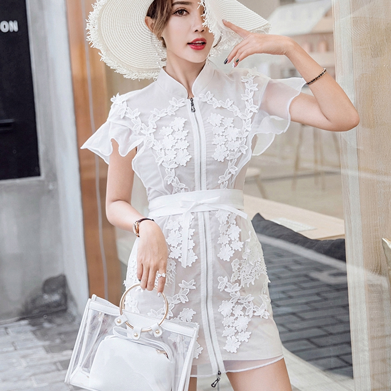 2019 New Summer Women Fashion Zipper Up Belt Short Dress Runway Clothing Butterfly Sleeve Flower Embroidery Organza Ladies Dress