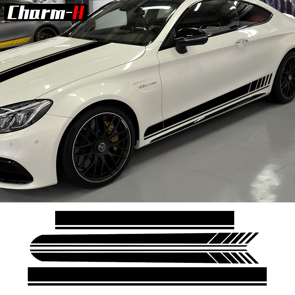 for Mercedes Benz Edition 1 C63 Coupe W205 Matte Black Decal Stickers C200, C250 C300 AMG Door Side Racing Stripes Hood Roof amg style w205 carbon fiber rear trunk spoiler for mercedes benz w205 c180 c200 c220 c250 c300 c350 c400 c63 amg 2015 2017