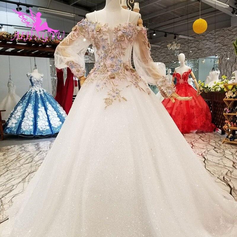 AIJINGYU grande taille robe de mariée africaine mariée Sri Lanka robe de créateur pas cher avec Train Royal robes de mariée saoudiennes
