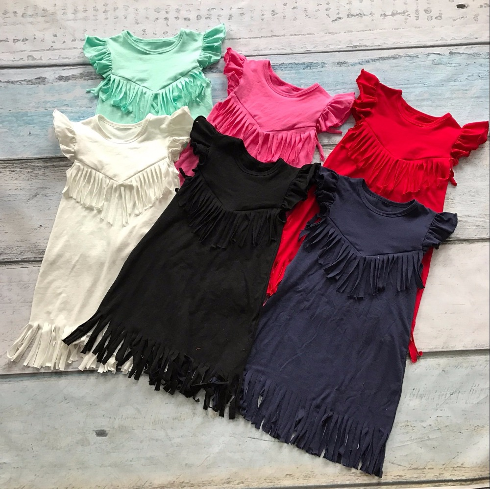 baby girls spring summer solid Tassels cotton dress boutique all-match clothing kids wear fringe multi color mint hot sale all summer long