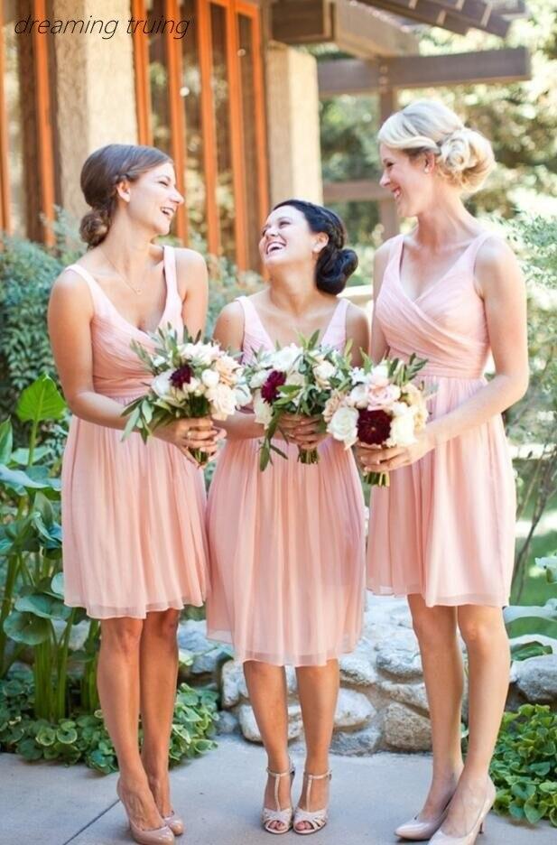 Robes de demoiselle d'honneur rose bon marché courte bohème en mousseline de soie a-ligne pour robe de mariée 2019 Vestito Damigella Donna