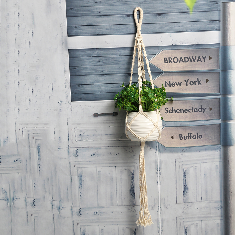 vintage macrame plant hanger rope flowerpot holder handmade string hanging rope wall art garden. Black Bedroom Furniture Sets. Home Design Ideas