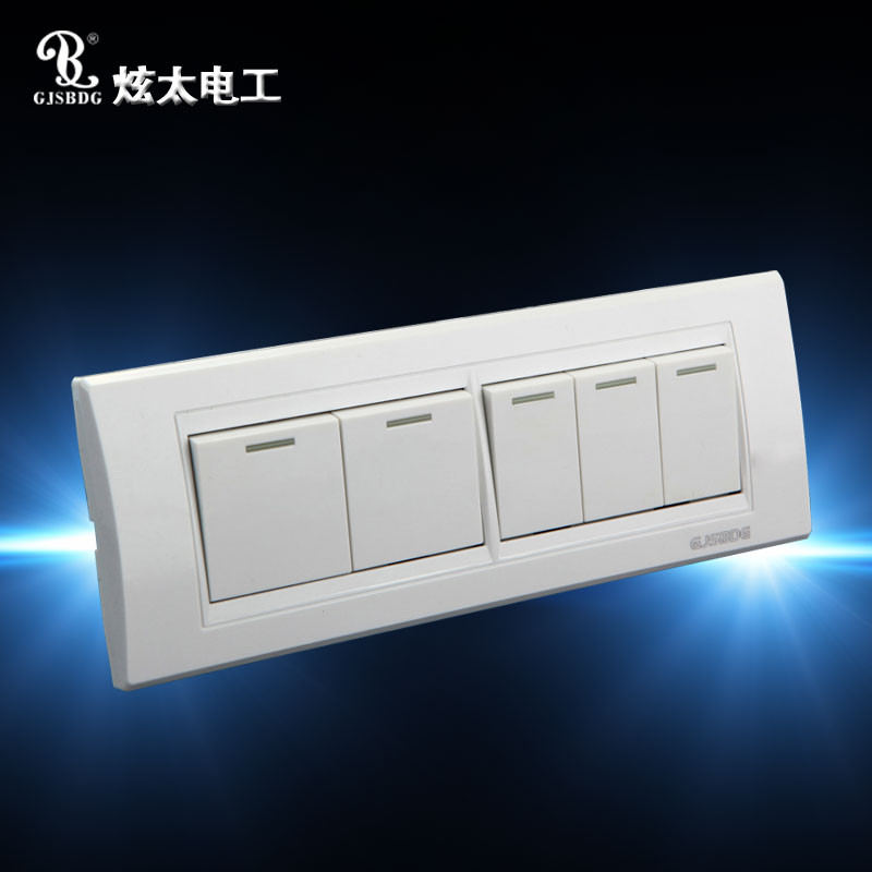 GJSBDG Luxury Wall Switch, 5 Gang 2 Way Panel Light Switch, Touch ...