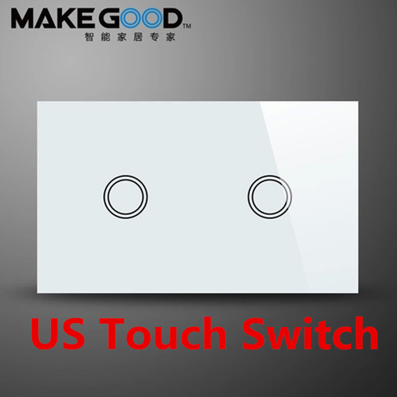 Makegood US Standard Wall Touch Switch 2 Gang 1 Way Crystal Glass