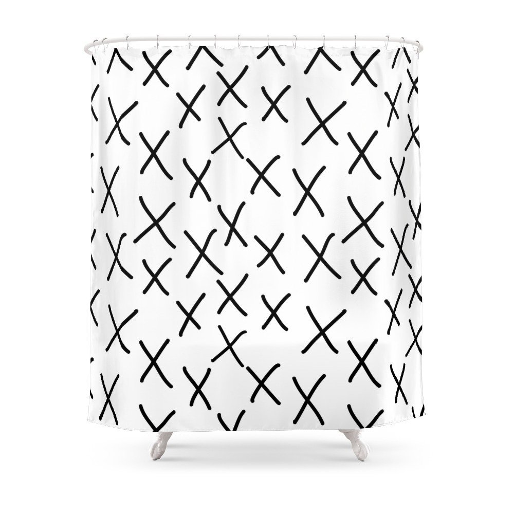 Black And White, Hand-drawn, Graphic, Bold, Modern Monochrome Minimal Design Shower Curtain Custom Curtain For Bathroom