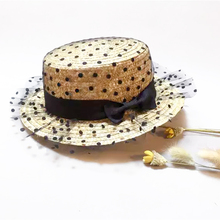Hot black lace sun hats Panama bow hand made women Flat brim Bowknot straw cap beach big hat casual girl summer