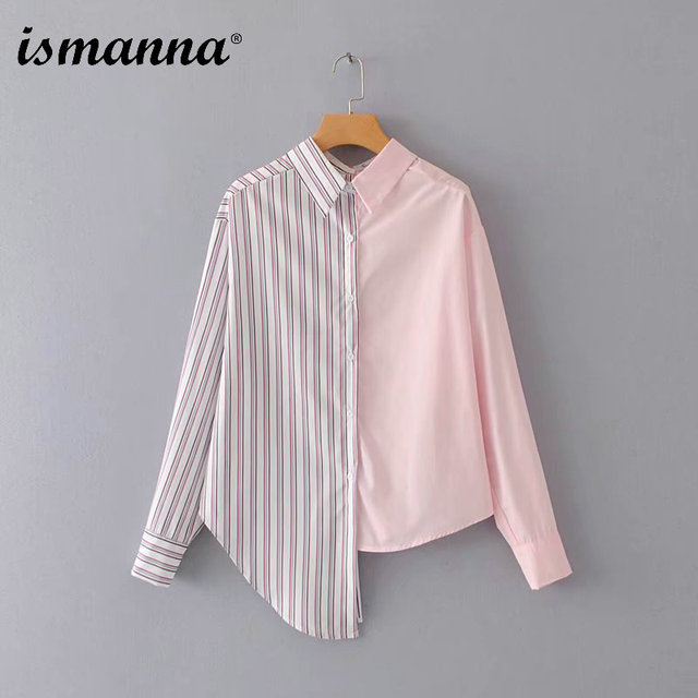 New Autumn 2018 Women Asymmetrical Striped Patchwork Loose Ladies Blouse Iirregular Design Long Sleeve Shirts Female Casual Tops