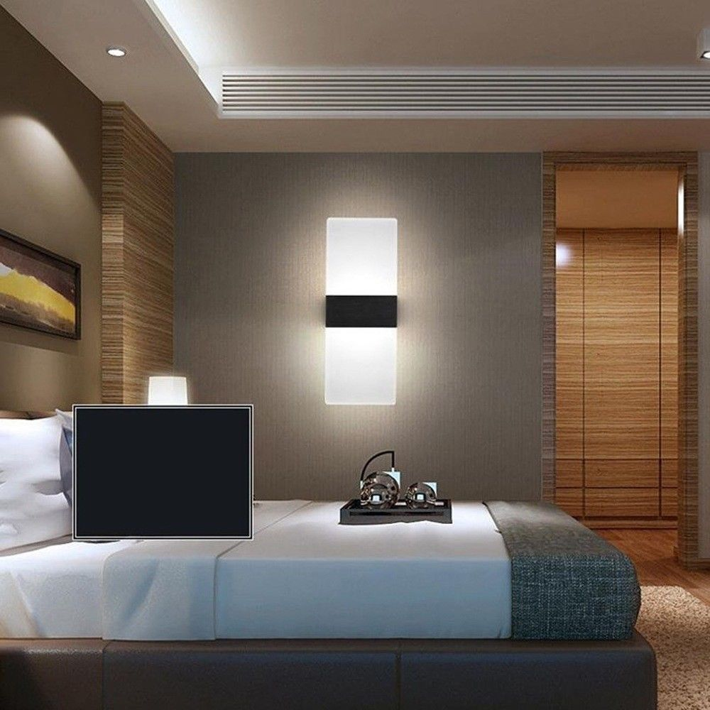 Modern Led Acrylic Wall Sconces Bedroom Bedside Lamp Bed