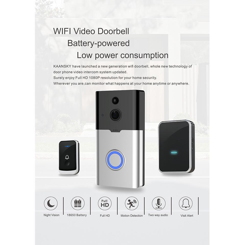 K35 Doorbell Wireless Smart WiFi Audio Video Door Bell Remote Phone Intercom IR Night Vision R20