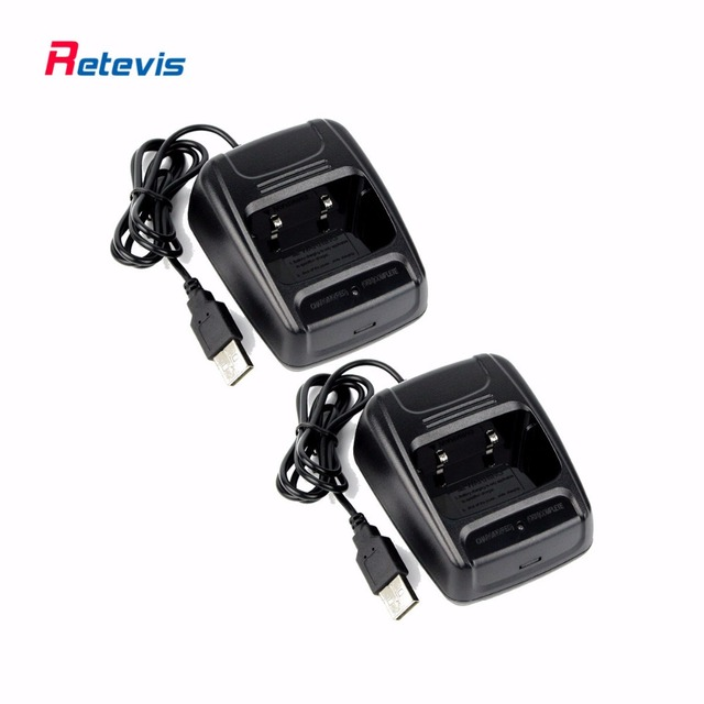 2pcs USB Li-ion Radio Battery Charger 100-240V for Retevis H777 H-777 Baofeng BF-666S BF-777S BF-888S Walkie Talkie Charger