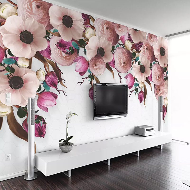 Custom Mural Wallpaper Modern 3D American Hand-painted Rose Flower 3D Wall Cloth Living Room TV Background Wall Home Decoration