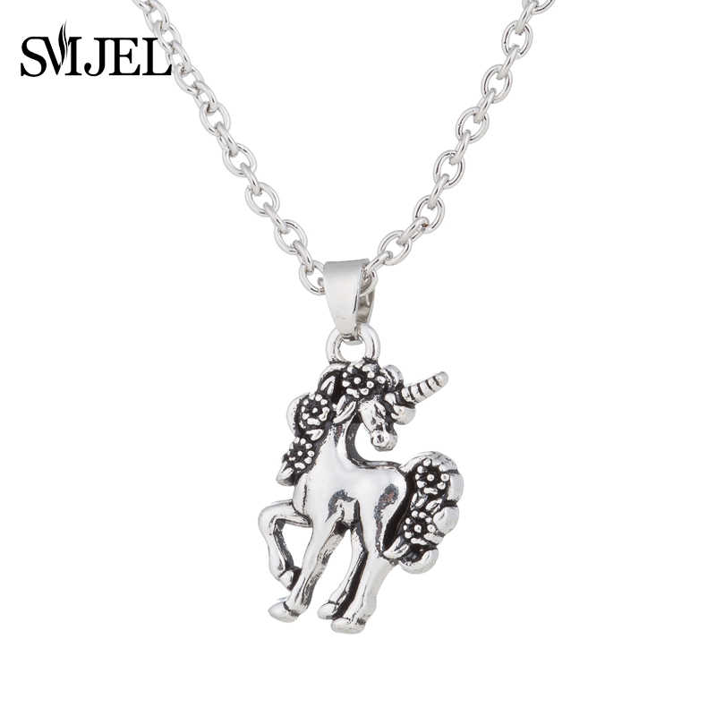 SMJEL Animal Unicorn Necklace Girls Rainbow Horse Necklaces & Pendants Women Accessories Beiver Flower Charm Colliers Jewerly